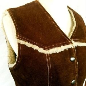 Brown Suede Leather Unisex Vest Size Men's Small